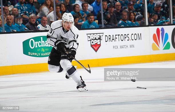 Tanner Pearson of the Los Angeles Kings passes the puck against the San Jose Sharks in Game Three of the Western Conference First Round during the...
