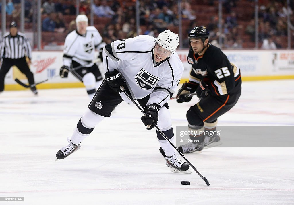 <a gi-track='captionPersonalityLinkClicked' href=/galleries/search?phrase=Tanner+Pearson&family=editorial&specificpeople=8764449 ng-click='$event.stopPropagation()'>Tanner Pearson</a> #70 of the Los Angeles Kings prepares to shoot the puck against the Anaheim Ducks in the second period at Honda Center on September 17, 2013 in Anaheim, California.