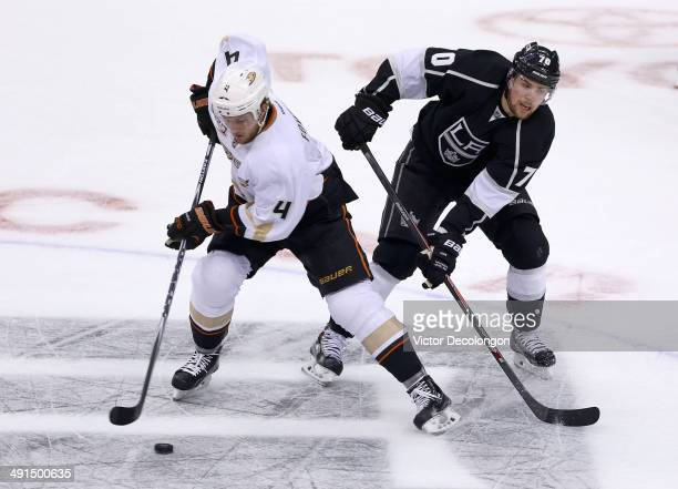 Tanner Pearson of the Los Angeles Kings pursues Cam Fowler of the Anaheim Ducks in the neutral zone during the first period of Game Six of the Second...