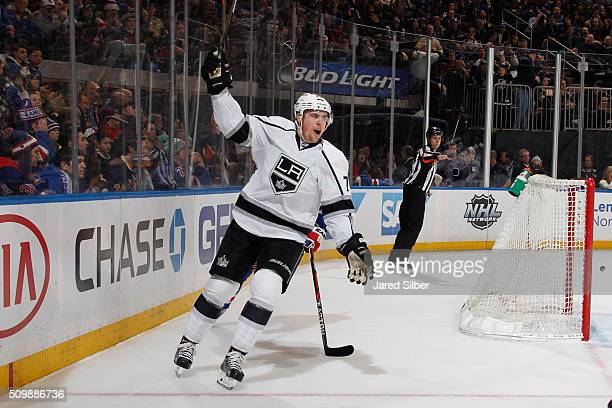 Tanner Pearson of the Los Angeles Kings reacts after scoring the game winning goal in overtime against the New York Rangers at Madison Square Garden...