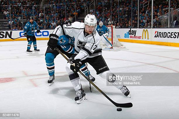 Tanner Pearson of the Los Angeles Kings skates after the puck against the San Jose Sharks in Game Four of the Western Conference Quarterfinals during...