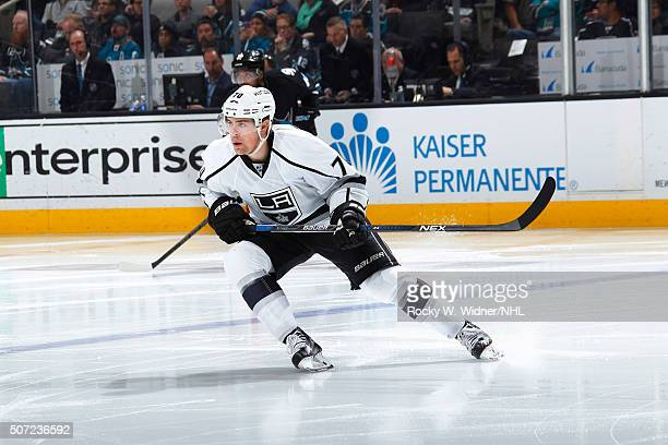 Tanner Pearson of the Los Angeles Kings skates agains tthe San Jose Sharks at SAP Center on January 24 2016 in San Jose California