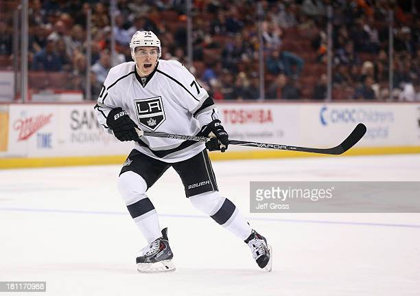 Tanner Pearson of the Los Angeles Kings skates against the Anaheim Ducks at Honda Center on September 17 2013 in Anaheim California