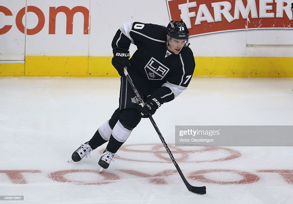 <a gi-track='captionPersonalityLinkClicked' href=/galleries/search?phrase=Tanner+Pearson&family=editorial&specificpeople=8764449 ng-click='$event.stopPropagation()'>Tanner Pearson</a> #70 of the Los Angeles Kings skates during warm-up prior to the NHL game against the Tampa Bay Lightning at Staples Center on November 19, 2013 in Los Angeles, California. The Kings defeated the Lightning 5-2.