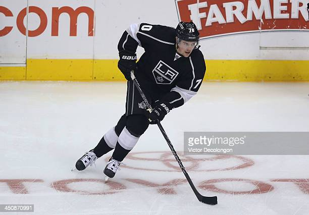 Tanner Pearson of the Los Angeles Kings skates during warmup prior to the NHL game against the Tampa Bay Lightning at Staples Center on November 19...