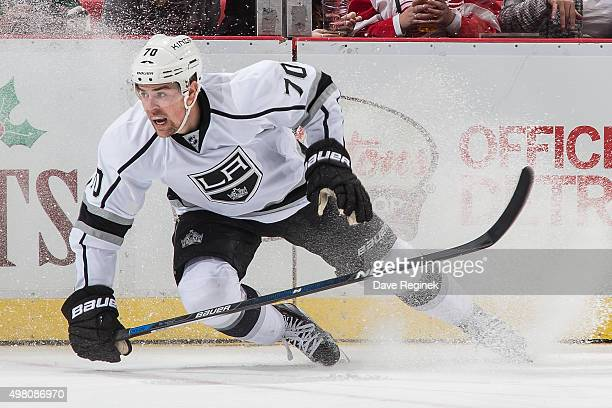 Tanner Pearson of the Los Angeles Kings stops behind the net during an NHL game against the Detroit Red Wings at Joe Louis Arena on November 20 2015...
