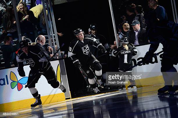 Tanner Pearson of the Los Angeles Kings takes the ice prior to the game against the Phoenix Coyotes at Staples Center on April 2 2014 in Los Angeles...