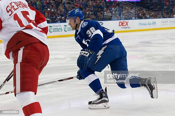 Tanner Richard of the Tampa Bay Lightning skates against the Detroit Red Wings during the first period at Amalie Arena on December 20 2016 in Tampa...