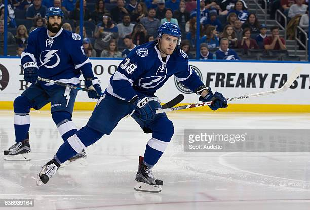 Tanner Richard of the Tampa Bay Lightning skates against the Detroit Red Wings during the second period at Amalie Arena on December 20 2016 in Tampa...