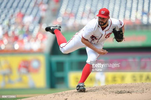 Tanner Roark of the Washington Nationals pitches against the Los Angeles Angels at Nationals Park on August 16 2017 in Washington DC