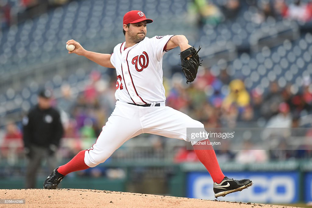 Tanner Roark #57 of the Washington Nationals pitches in the first inning during a baseball game against the Philadelphia Phillies at Nationals Park on April 28, 2016 in Washington, D.C.