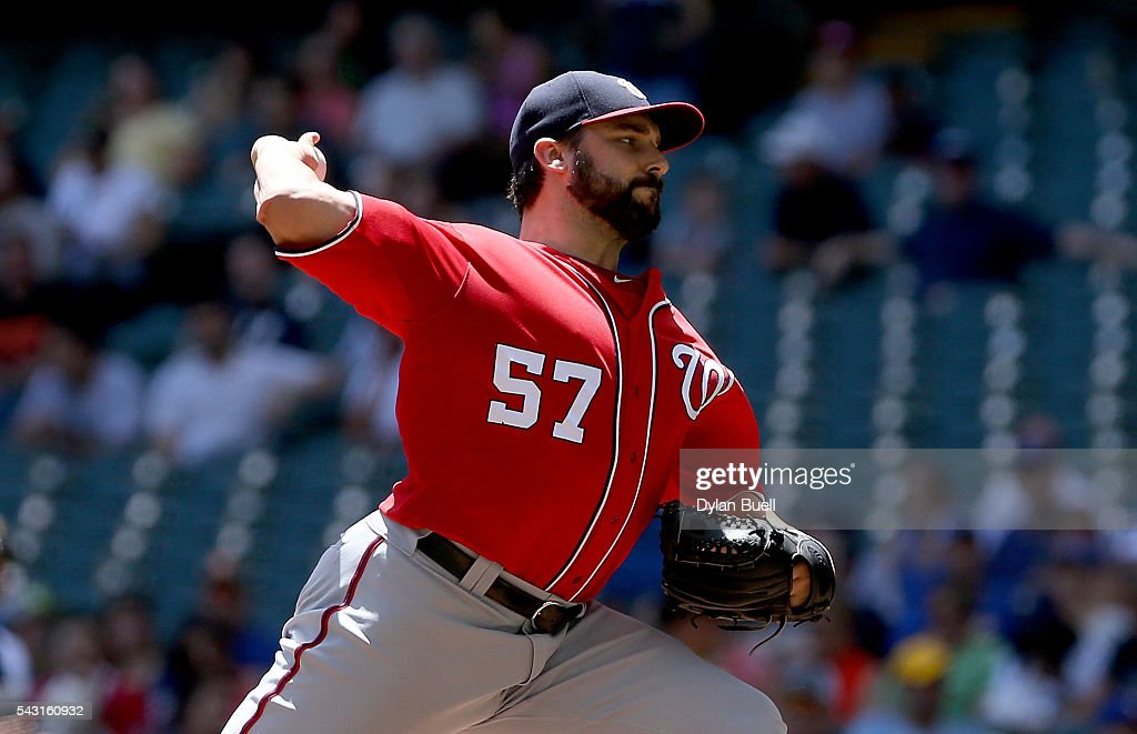 Tanner Roark #57 of the Washington Nationals pitches in the first inning against the Milwaukee Brewers at Miller Park on June 26, 2016 in Milwaukee, Wisconsin.