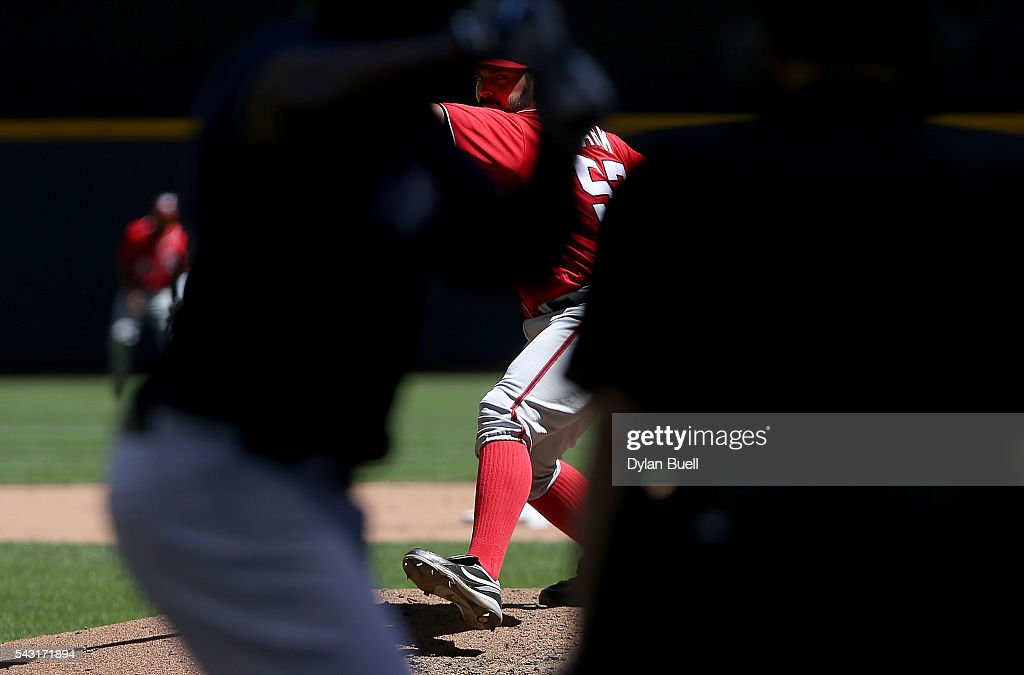 <a gi-track='captionPersonalityLinkClicked' href=/galleries/search?phrase=Tanner+Roark&family=editorial&specificpeople=10527506 ng-click='$event.stopPropagation()'>Tanner Roark</a> #57 of the Washington Nationals pitches in the fourth inning against the Milwaukee Brewers at Miller Park on June 26, 2016 in Milwaukee, Wisconsin.