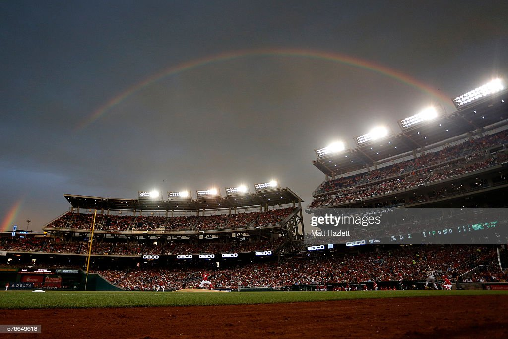 Tanner Roark of the Washington Nationals works in the first inning under a rainbow against the Pittsburgh Pirates at Nationals Park on July 16 2016...