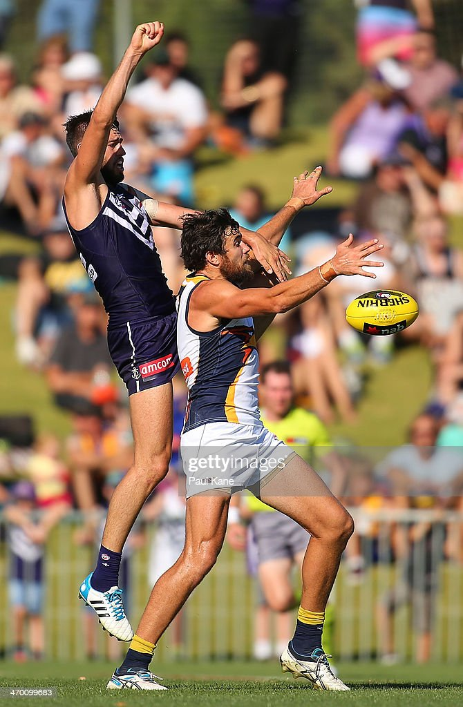 Tanner Smith of the Dockers spoils the mark for Josh Kennedy of the Eagles during the round two NAB Challenge Cup AFL match between the Fremantle Dockers and the West Coast Eagles at Arena Joondalup on February 18, 2014 in Perth, Australia.