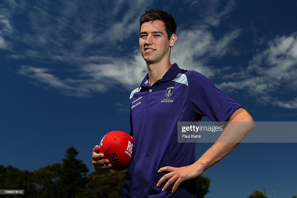 Tanner Smith poses during a Fremantle Dockers AFL pre-season media session at Fremantle Oval on November 26, 2012 in Fremantle, Australia.