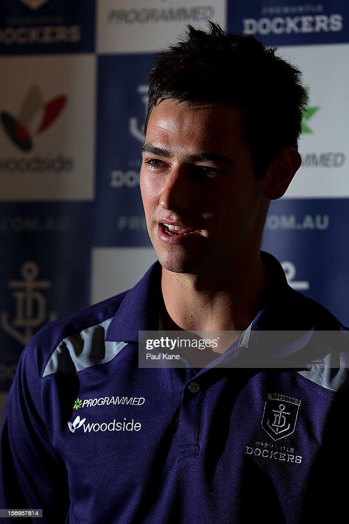 Tanner Smith talks to the media during a Fremantle Dockers AFL pre-season media session at Fremantle Oval on November 26, 2012 in Fremantle, Australia.