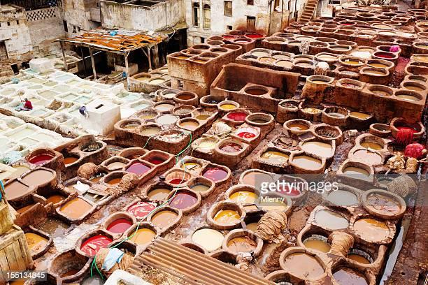 Fábrica de Curtumes em Cone de Fes, Marrocos Norte de África