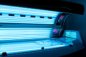 Tanning bed solarium at health club spa.