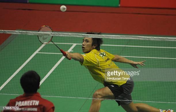 Tanongsak Saemsomboonsuk of Hyderabad Hotshots in action during his match against B Sai Praneet of Delhi Smashers in Indian Badminton League 2013 at...