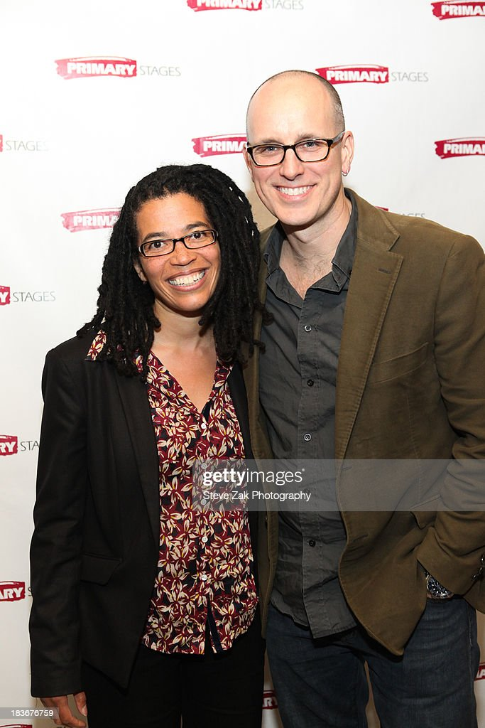 Tanya Barfield and Kelly Aucoin attend the after party for the opening night of the 'Bronx Bombers' at West Bank Cafe on October 8, 2013 in New York City.