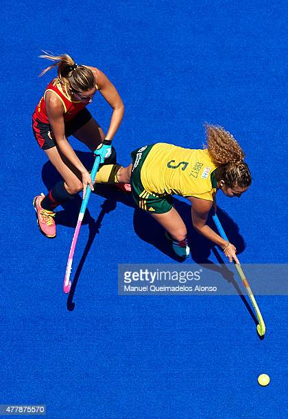 Tanya Britz of South Africa competes for the ball with Maria Lopez Garcia of Spain during the match between South Africa and Spain at Polideportivo...