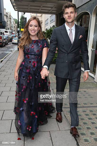 Tanya Burr and Jim Chapman seen leaving Claridge's Hotel to attend The Glamour Women of the Year Awards on June 7 2016 in London England