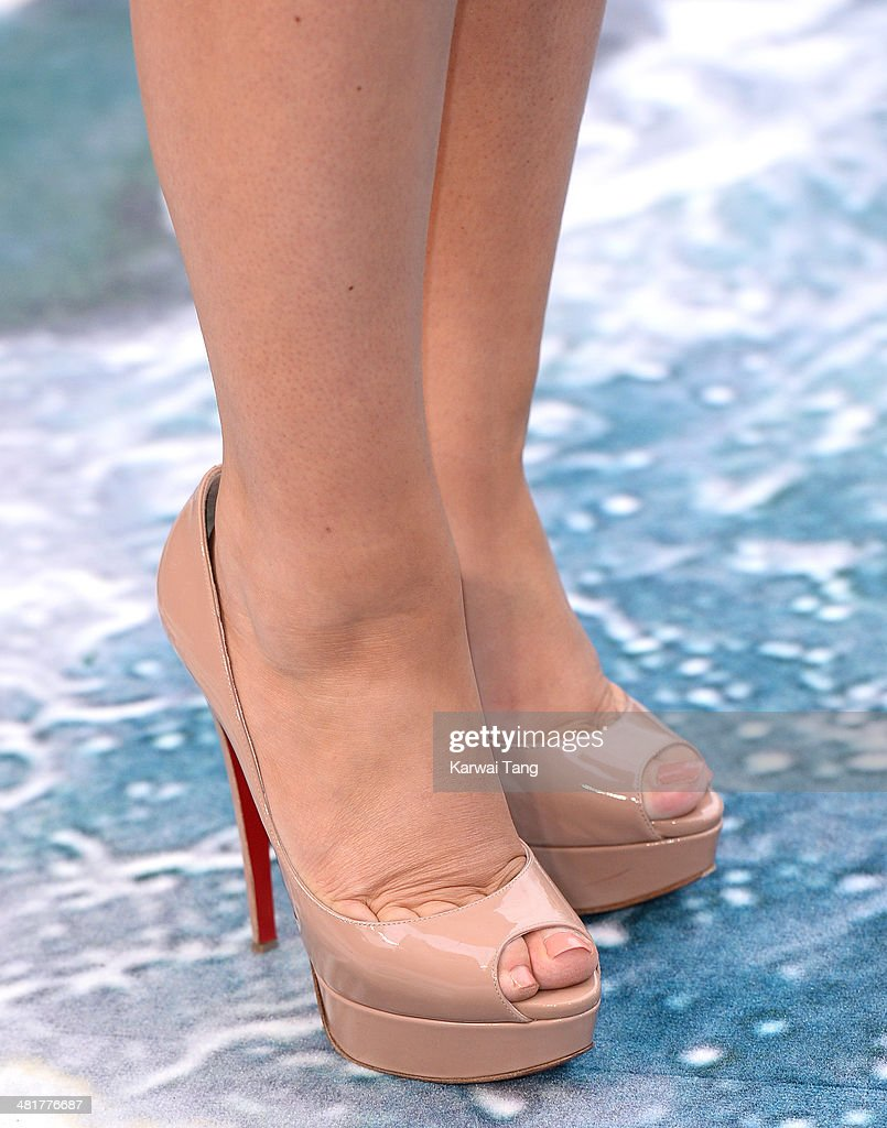 Tanya Burr (Shoe detail) attends the UK premiere of 'Noah' held at the Odeon Leicester Square on March 31, 2014 in London, England.