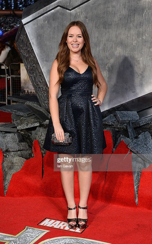 Tanya Burr attends the World Premiere of 'Thor: The Dark World' at Odeon Leicester Square on October 22, 2013 in London, England.