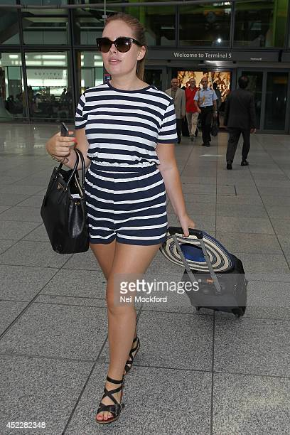 Tanya Burr seen arriving at Heathrow Airport from Nice on July 17 2014 in London England