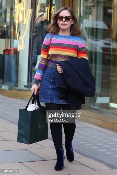 Tanya Burr seen leaving Mulberry on New Bond St after having a fitting on Day 1 of London Fashion Week February 2017 on February 17 2017 in London...
