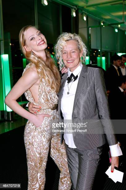 Tanya Dziahileva and Ellen von Unwerth attend the Sidaction Gala Dinner 2014 at Pavillon d'Armenonville on January 23 2014 in Paris France