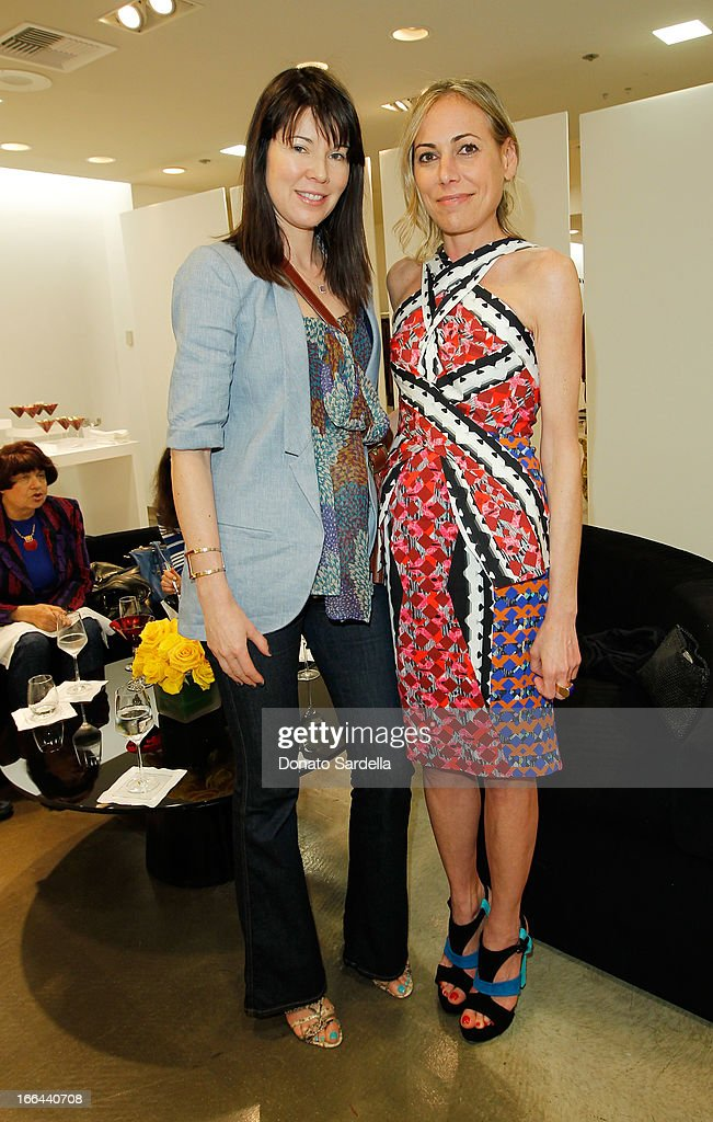 Tanya Gill and <a gi-track='captionPersonalityLinkClicked' href=/galleries/search?phrase=Angelique+Soave&family=editorial&specificpeople=5605220 ng-click='$event.stopPropagation()'>Angelique Soave</a> attend Saks Fifth Avenue presents Peter Pilotto at Saks Fifth Avenue Beverly Hills on April 12, 2013 in Beverly Hills, California.