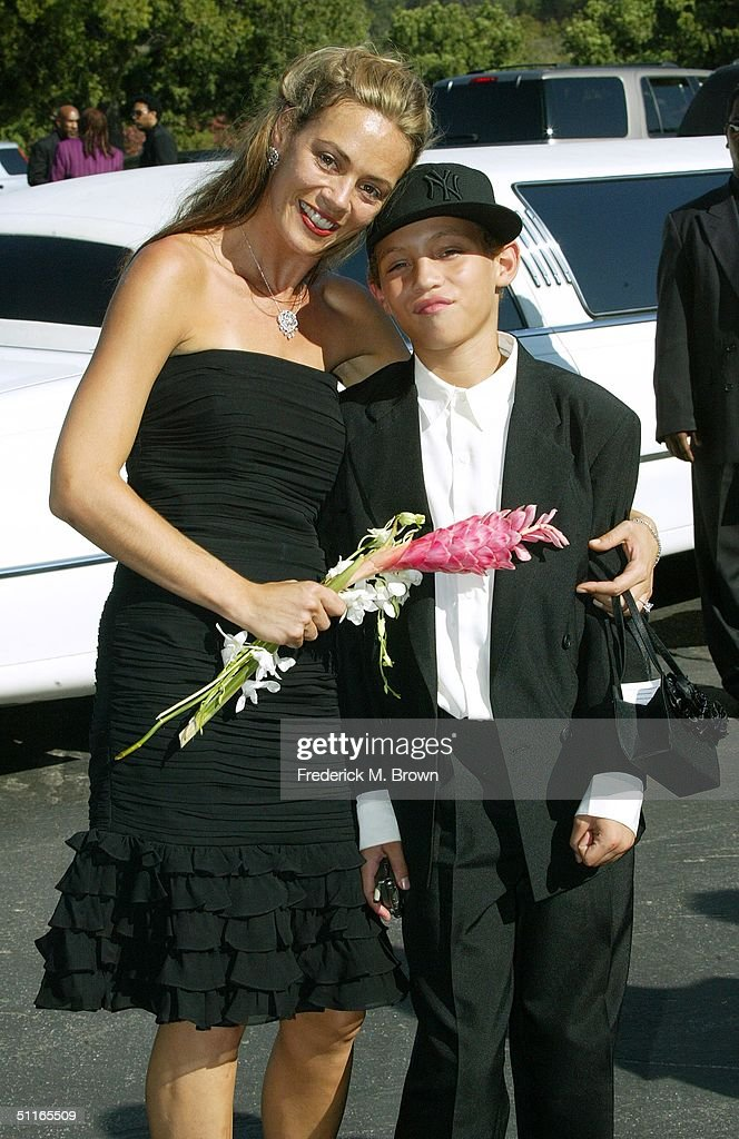 Tanya Hizazi and her son Tazman James attend the funeral service for the late recording artist Rick James at Forest Lawn Cemetery on August 12, 2004 in Los Angeles, California. (Photo by Frederick M. Brown/Getty Images).