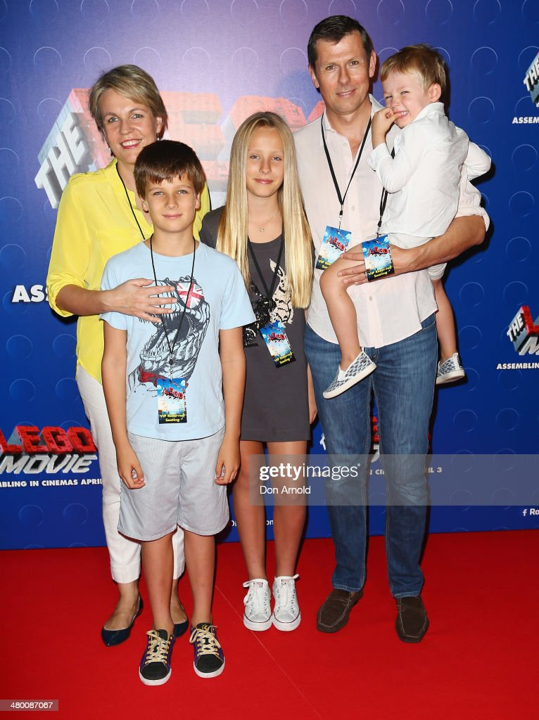 Tanya Plibersek poses alongside her husband Michael Coutts-Trotter and their children at the Sydney premiere of The LEGO Movie at Event Cinemas on March 23, 2014 in Sydney, Australia.