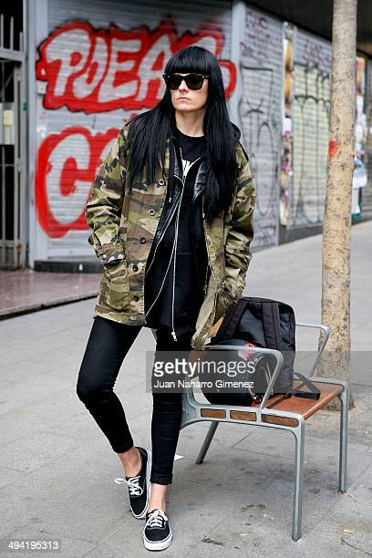 Tanya Vondee is wearing a jacket from HM jeans from Levis and sneakers from Vans on the streets of Madrid on May 28 2014 in Madrid Spain