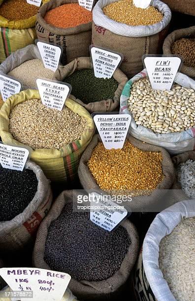 Tanzania, Zanzibar, Stonetown, grains in market.