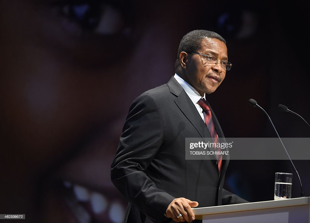 Tanzanian President Jakaya Kikwete delivers a speech during a two-day pledging conference of the Global Alliance for Vaccines and Immunisation (GAVI) organisation in Berlin, on January 27, 2015. The Gavi Alliance, a public-private partnership bringing vaccines to poor countries, holds a donor conference aiming to mobilise an additional $7.5 billion in pledges for 2016-2020 to save up to six million lives. AFP PHOTO / TOBIAS SCHWARZ