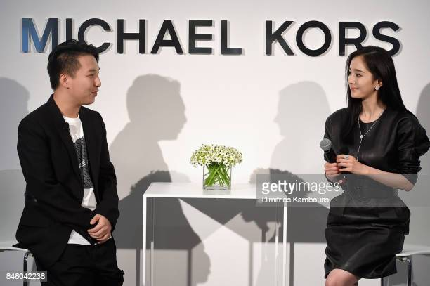Tao 'MrBags' Liang and Yang Mi speak at the annoucement of Yang Mi as Brand Ambassador for Michael Kors at Park Hyatt Hotel New York on September 12...