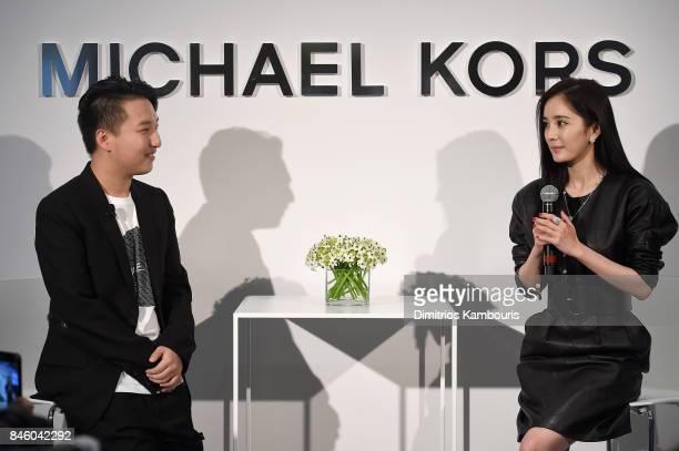 Tao 'MrBags' Liang and Yang Mi speak at the annoucement of Yang Mi as Brand Ambassador for Michael Kors at Park Hyatt Hotel New York on September 12...