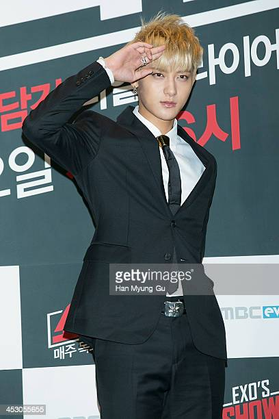 Tao of boy band EXOM attends the MBC Every1 'EXO's ShowTime' press conference at CVG on November 28 2013 in Seoul South Korea The program will open...