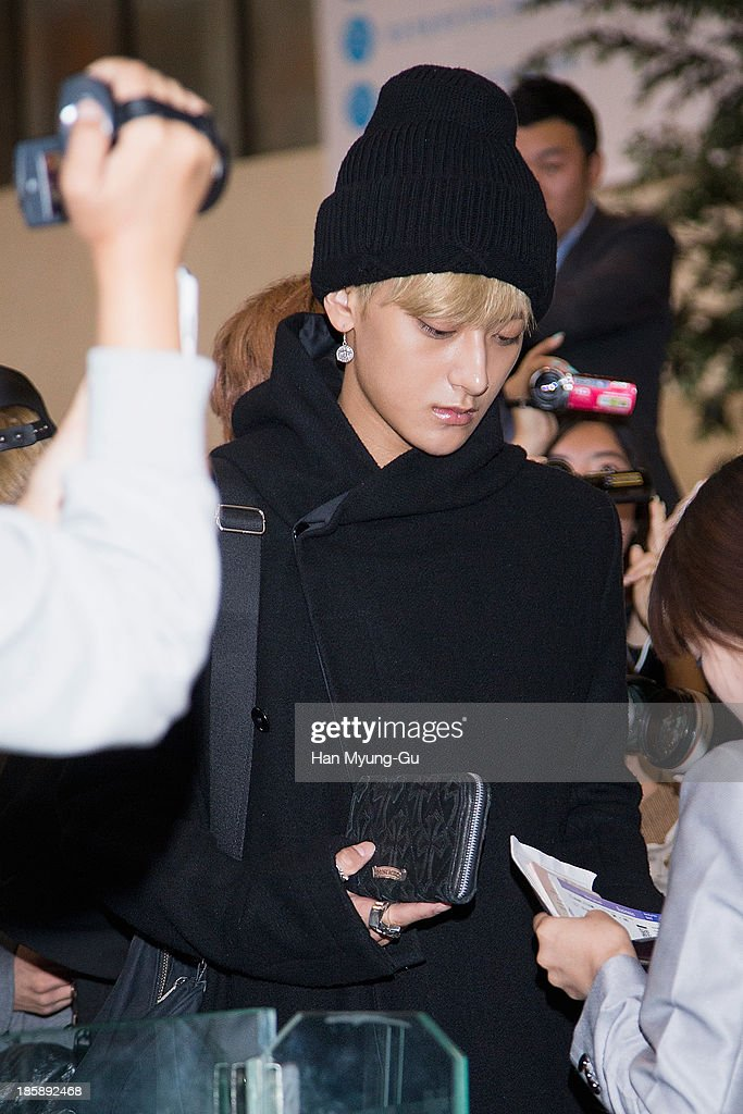 Tao of boy band EXO-M is seen on departure at Gimpo International Airport on October 25, in Seoul, South Korea.