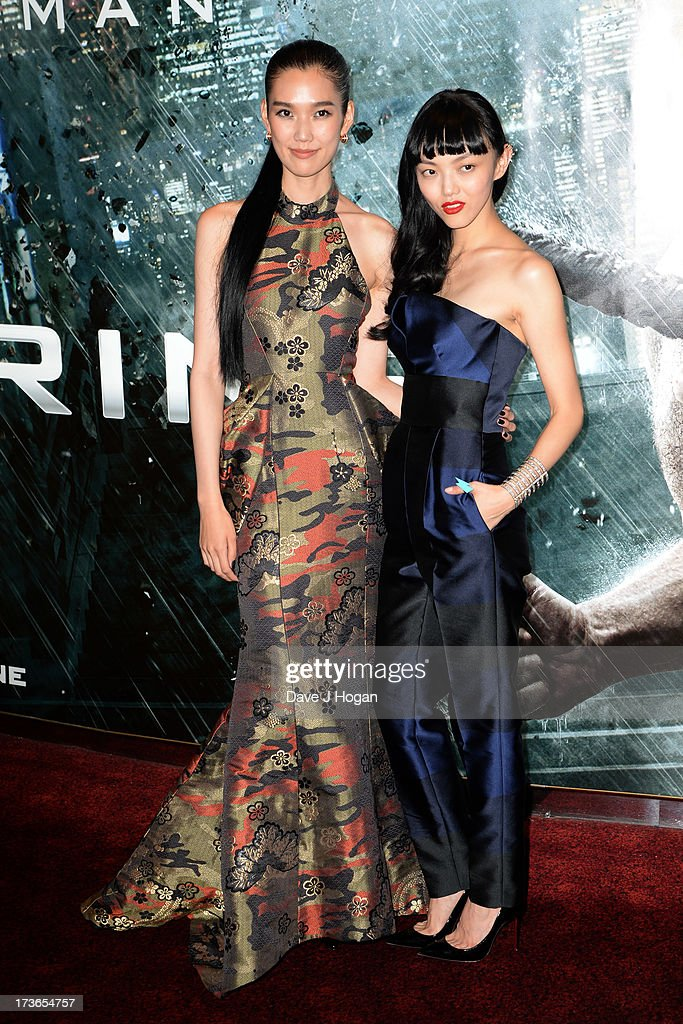 Tao Okamoto and Rila Fukushima attend the UK premiere of 'The Wolverine' at The Empire Leicester Square on July 16, 2013 in London, England.