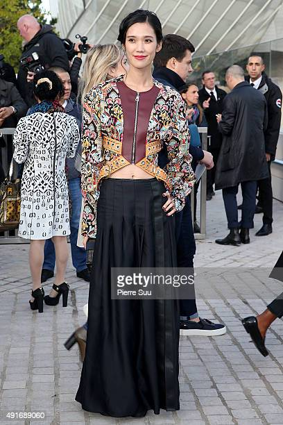 Tao Okamoto arrives at the Louis Vuitton show as part of the Paris Fashion Week Womenswear Spring/Summer 2016 on October 7 2015 in Paris France