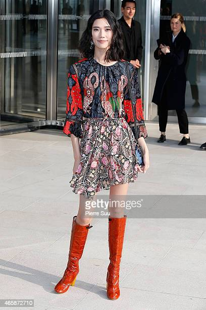 Tao Okamoto attends the Louis Vuitton show as part of the Paris Fashion Week Womenswear Fall/Winter 2015/2016 on March 11 2015 in Paris France
