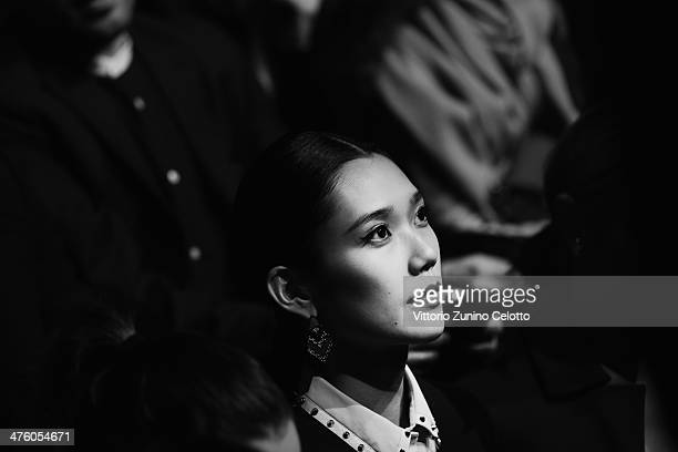 Tao Okamoto attends the ViktorRolf show as part of the Paris Fashion Week Womenswear Fall/Winter 20142015 at Espace Ephemere Tuileries on March 1...