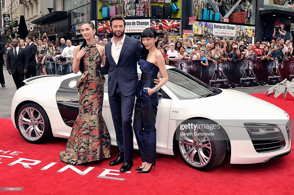 Tao Okamoto, Hugh Jackman and Rila Fukashima attend the UK Premiere of 'The Wolverine' at Empire Leicester Square on July 16, 2013 in London, England.
