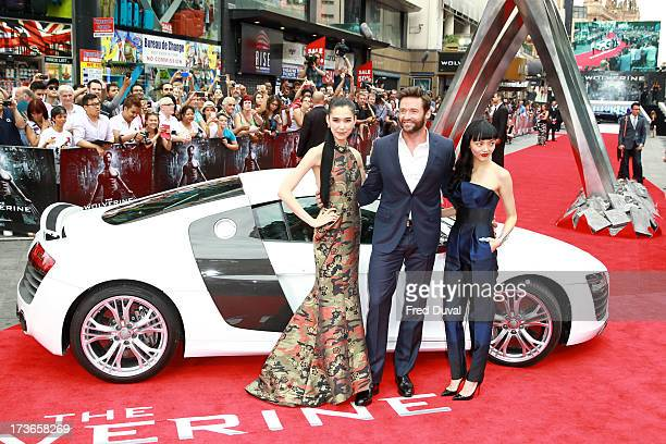 Tao Okamoto Hugh Jackman and Rila Fukushima attend the UK film premiere of 'The Wolverine' at The Empire Cinema on July 16 2013 in London England