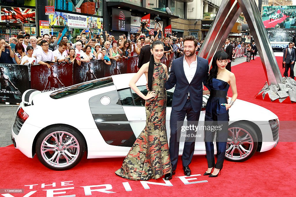 Tao Okamoto, Hugh Jackman and Rila Fukushima attend the UK film premiere of 'The Wolverine' at The Empire Cinema on July 16, 2013 in London, England.