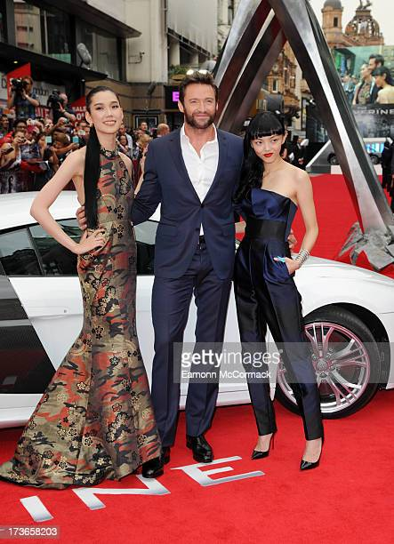 Tao Okamoto Hugh Jackman and Rila Fukushima attend the UK Premiere of 'The Wolverine' at Empire Leicester Square on July 16 2013 in London England